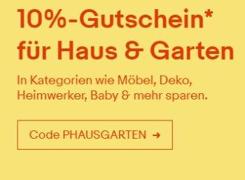 """Ebay: 10 Prozent Rabatt auf alle Artikel aus """"Haus & Garten"""""""