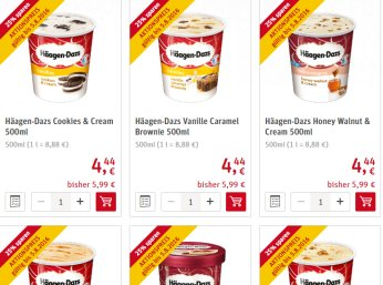 Rewe: Häagen-Dazs-Eis für 4,22 Euro - 4,44 Euro online und offline