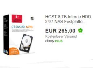 Ebay: NAS-Festplatte mit acht TByte für 225 Euro frei Haus (Bild: Ebay.de)