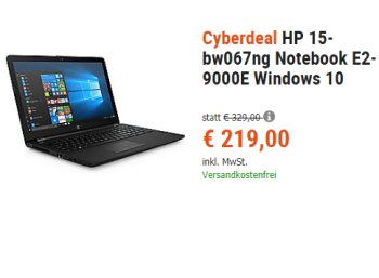 Cyberport: HP 15-bw067ng mit bis zu 11,5 Stunden Laufzeit für 219 Euro frei Haus