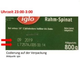 Iglo: Rückruf wegen Plastikteilen in Rahm-Spinat