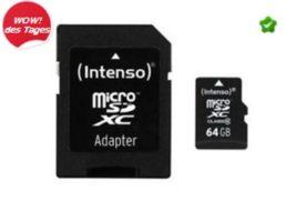 Ebay: Intenso Micro-SDXC-Speicherkarte mit 64 GByte für 18,99 Euro frei Haus