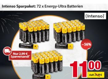 Völkner: Intenso-Sparpaket mit 72 Batterien für 13,99 Euro frei Haus