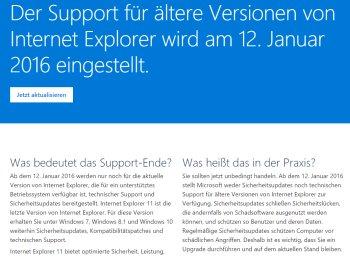 Warnung: Microsoft stellt Support für ältere Versionen des Internet Explorer ein