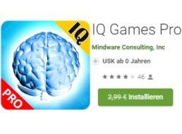 """Gratis: App """"IQ Games Pro"""" für kurze Zeit zum Nulltarif"""