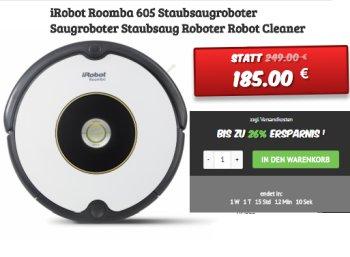 Dealclub: iRobot Roomba 605 als Vorführware für 185 Euro frei Haus