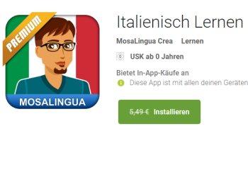"""Gratis: App """"Italienisch Lernen: MosaLingua Premium"""" für 0 Euro"""