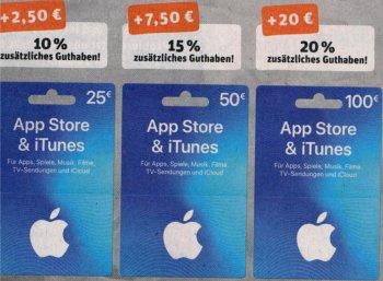 Rewe: iTunes-Karten mit bis zu 20 Euro Extra-Guthaben