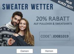 Jeans Direct: 20 Prozent Rabatt auf bereits reduzierte Markenpullis