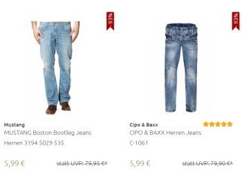 Outlet46: Jeans von Mustang, Lee, Wrangler und anderen ab 5,99 Euro