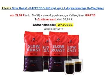 Altezza: Vier Kilo Kaffeebohnen mit zwei Thermogläsern für 29,99 Euro frei Haus