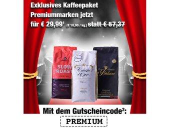 Kaffevorteil: Drei Kilo Kaffeebohnen für 29,99 Euro frei Haus
