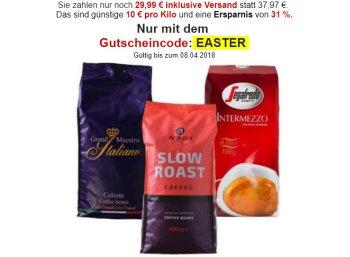 Kaffevorteil.de: 3 Kilo Kaffeebohnen für 29,99 Euro frei Haus