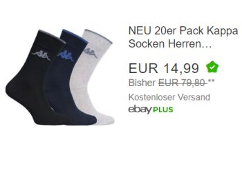 Ebay: 20 Paar Socken von Kappa für 14,99 Euro frei Haus