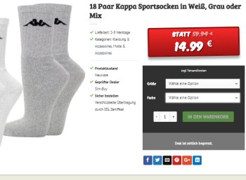 Dealclub: 18 Paar Socken von Kappa für 14,99 Euro frei Haus