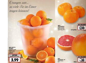 """Eimer Orangen """"so viel Sie tragen können"""" für 3,99 Euro"""