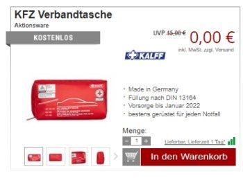 Druckerzubehoer.de: Kfz-Verbandstasche für 5,97 Euro mit Versand
