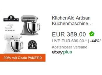 Ebay: KitchenAid Artisan mit Gutschein für 350,10 Euro frei Haus