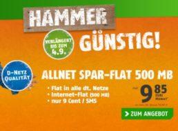 Klarmobil: Allnet-Flat mit Internet-Flat (500 MByte) im D-Netz für 9,85 Euro