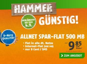 Allnet-Flat mit Internet-Flat (500 MByte) im D-Netz für 9,85 Euro