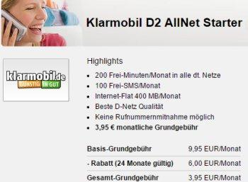 Klarmobil: D2 AllNet Starter mit 200 Minuten, 100 SMS und 400 MByte für 3,95 Euro