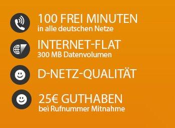Klarmobil: D-Netz-Tarif mit 300 MByte und 100 Freiminuten für 3,95 Euro
