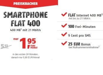 Klarmobil: Smartphone Flat 400 im D-Netz für 1,95 Euro im Monat