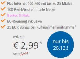 Wieder da: D-Netz-Flat mit 100 Minuten und 500 MByte für 2,99 Euro
