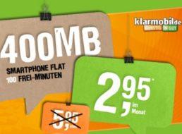 Klarmobil: 100 Freiminuten & 400 MByte Surfvolumen im D-Netz für 2,95 Euro