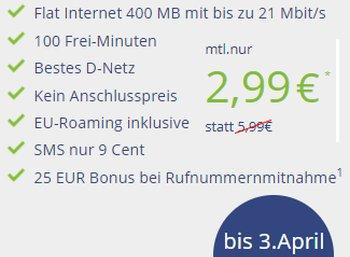 Klarmobil: Datenflat im D-Netz mit 400 MByte und 100 Freiminuten für 2,99 Euro