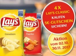 Tipp: 4 x Lay's Chips bei Rewe.de für 3,96 Euro mit 5 Euro Cashback
