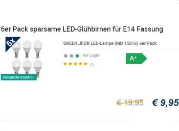 Medion: Sechserpack LED-Birnen mit E14-Sockel für 9,95 Euro frei Haus