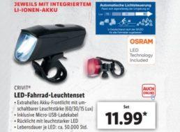 Lidl: LED-Fahrradleuchtenset mit StVZO-Zulassung für 11,99 Euro
