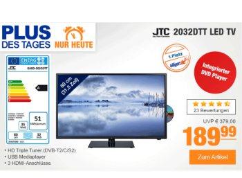 """Plus: LED-TV """"JTC 2032DTT"""" mit Triple-Tuner und DVD-Player für 189,99 Euro"""