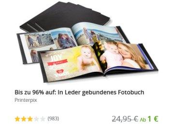 Groupon: Fotobuch mit Leder-Einband ab 1 Euro plus Versand