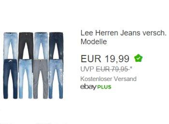 Ebay: Lee-Jeans für 19,99 Euro mit Gratis-Versand