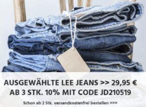 Lee: Jeans für pauschal 29,95 Euro, ab drei Modellen zehn Prozent Rabatt