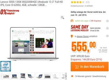 Ultrabook: Lenovo 500S-13ISK mit IPS-Display und 128 GByte SSD für 555 Euro