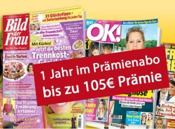 Leserservice: Vier Frauenzeitschriften mit Extra-Rabatt und hohen Prämien