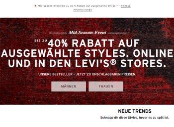 Levis: Rabatt-Aktion auf Bestseller bis zum 30. Oktober