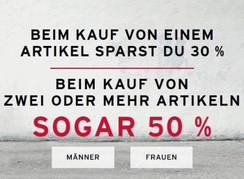 Levis: 50 Prozent Rabatt ab zwei Artikeln, 30 Prozent bei einem