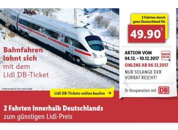 Lidl: Bahntickets für zwei einfache Fahrten zum Preis von 49,90 Euro