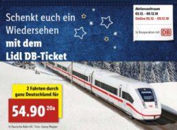Lidl: Bahntickets für 54,90 Euro (zwei Fahrten durch ganz Deutschland)