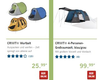 Lidl: Camping-Spezial mit Zelten, Zubehör und mehr
