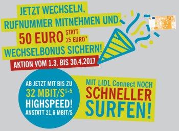 Lidl Connect: Jetzt 50 Euro Startguthaben bei Rufnummernmitnahme