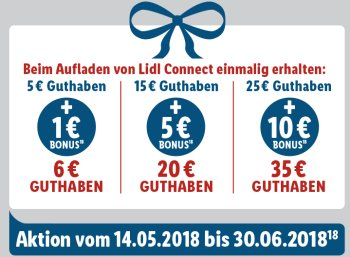Lidl Connect: 10 Euro Bonus bei Guthaben-Aufladung über 35 Euro