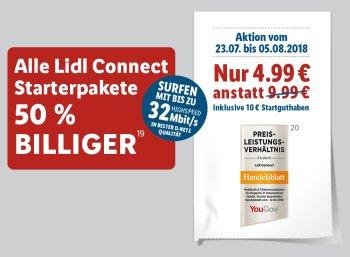 Lidl Connect: Startpaket für 4,99 Euro mit 10 Euro Guthaben