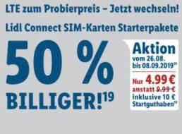 Lidl Connect: Starterpaket mit 10 Euro Guthaben für 4,99 Euro