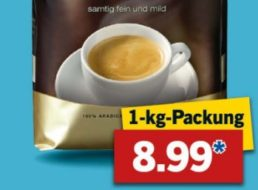 Lidl: Kilo-Paket Dallmayr-Kaffeebohnen für 8,99 Euro bis Samstag