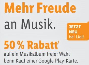 Google Play: 50 Prozent Rabatt auf Alben via Lidl